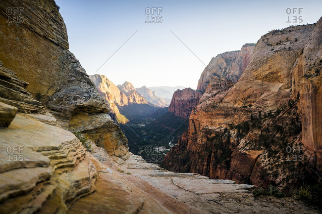 Scenic view of rocky mountains against clear sky