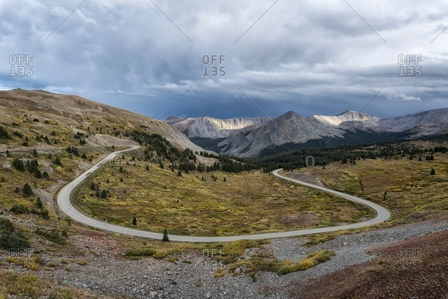 Scenic view of Cottonwood Pass against cloudy sky