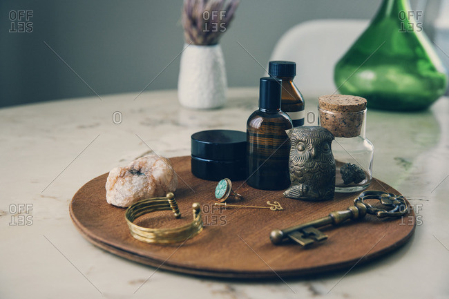 High angle view of objects on wooden board
