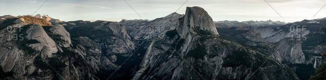 Panoramic shot of Half Dome in Yosemite National Park, California