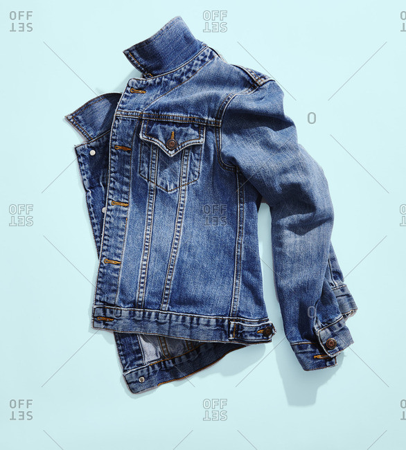 Jean jacket on a light blue background