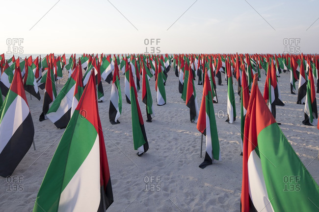 UAE flags on Kite Beach