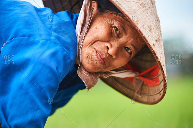 Portrait of a female rice farmer