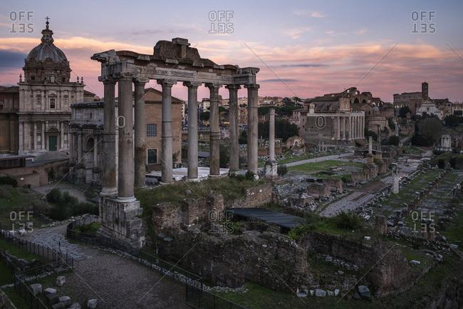 The Roman forum ruins at sunset