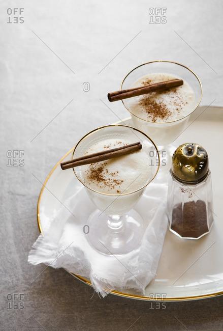 Glasses of spiced eggnog drink