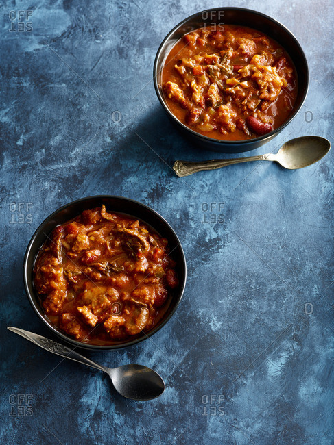Two bowls of hearty meat chili
