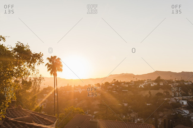 Sun setting over Los Angeles hills