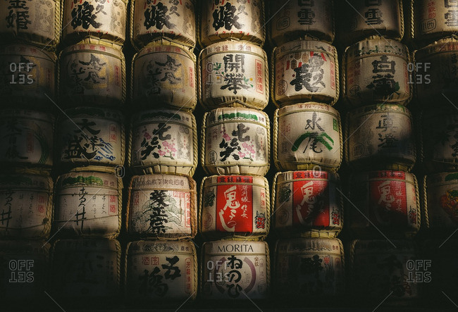 11/28/16: Collection of sake barrels at a temple in Japan