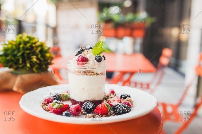 Parfait dish at outdoor cafe in Los Angeles