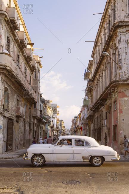 Havana, Cuba - March 9, 2015: A white classic car in Central Havana, Cuba