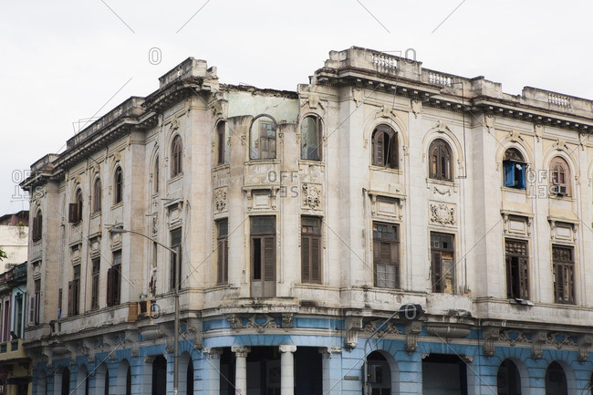 Crumbling building in disrepair in Havana, Cuba