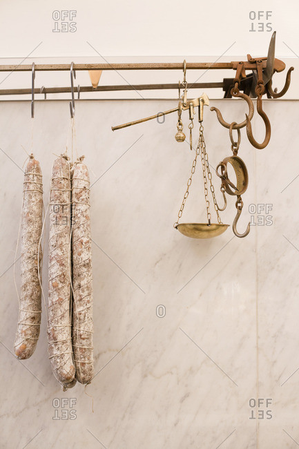 Close up of traditional butcher shop