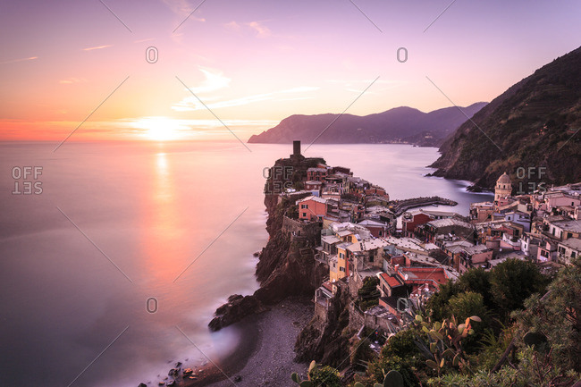 Cinque Terre,  Doria Castle in Vernazza at sunset