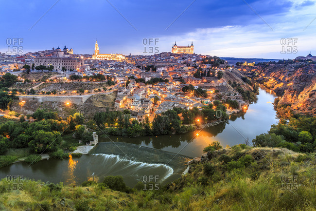 Toledo, Castilla-La Mancha, Spain - December 22, 2016: Panorama of Toledo at sunset