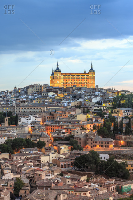 Alcazar,  Panorama of Alcazar of Toledo at sunset