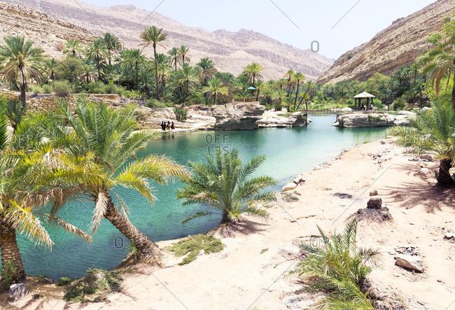 Wadi Bani Khalid,  the beautiful wadi where the water flows all year long supporting the abundant vegetation