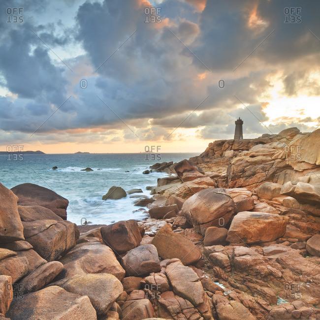 Pink granite coast, Mean Ruz lighthouse in Ploumanach