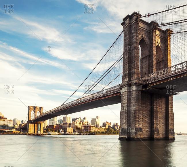 Brooklyn Bridge, Brooklyn, New York City, United States, USA - December 22, 2016:  Brooklyn Bridge at sunset