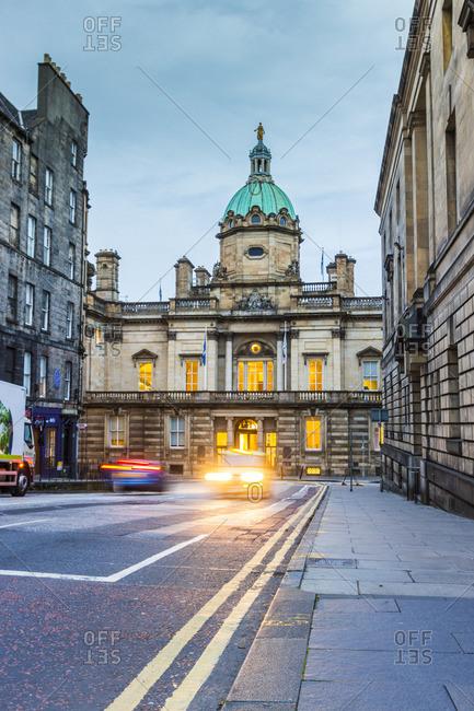 Edinburgh, Scotland, United Kingdom, UK - December 22, 2016: View of the  Roman Baroque head office of the Bank of Scotland along the Royal Mile