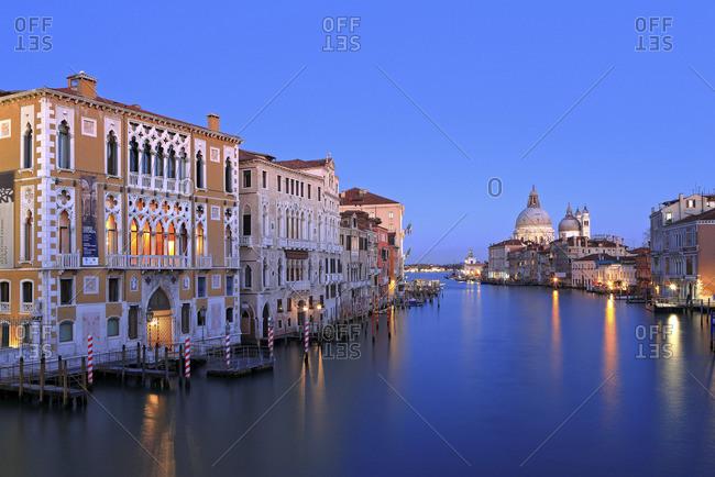 Venice, Venezia, Venezia district, Veneto, Italy - December 22, 2016: Grand Canal, Santa Maria Della Salute