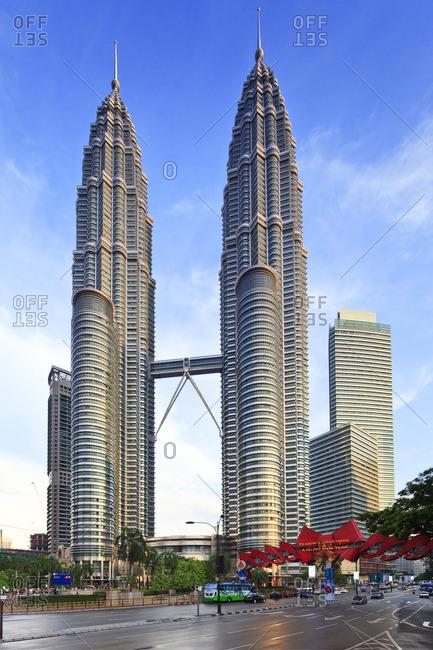 Petronas Towers, Kuala Lumpur, Selangor, Malaysia - December 22, 2016: Petronas Towers and KLCC Kuala Lumpur City Centre