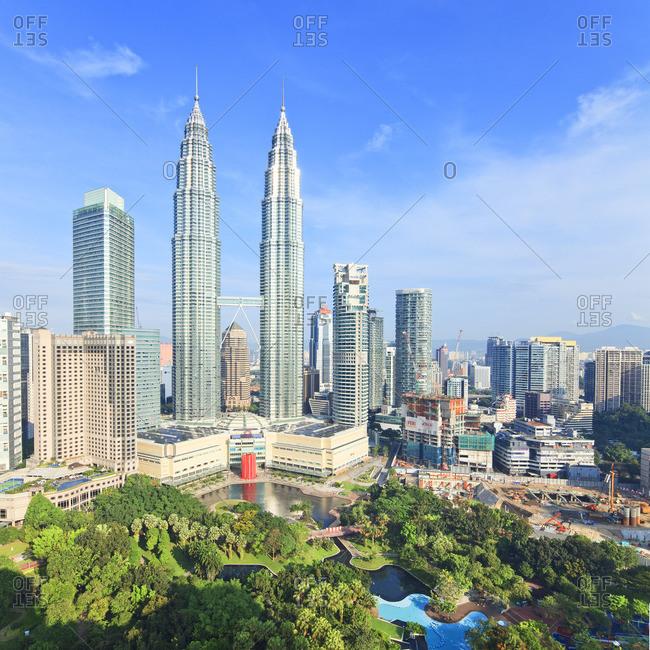 Petronas Towers, Kuala Lumpur, Selangor, Malaysia - December 22, 2016: Panoramic view over Petronas Towers and KLCC Kuala Lumpur City Centre