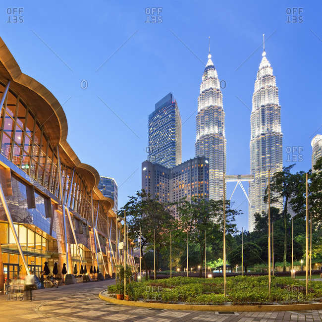 Petronas Towers, Kuala Lumpur, Selangor, Malaysia - December 22, 2016: Petronas Towers and KLCC Kuala Lumpur City Centre at night