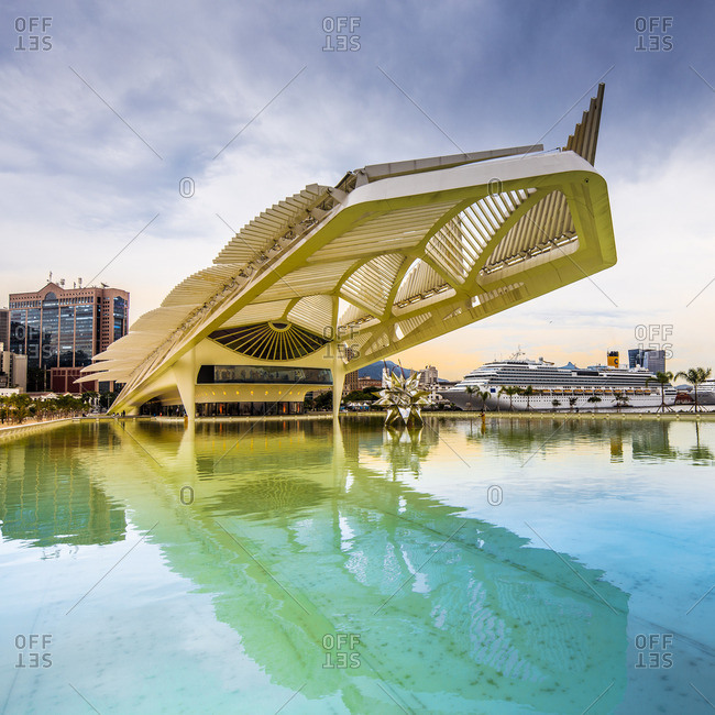 Rio de Janeiro, Rio de Janeiro, Brazil - December 22, 2016: Museum do Amanha (Museum of Tomorrow) by Santiago Calatrava and cruise ship Costa Crociere