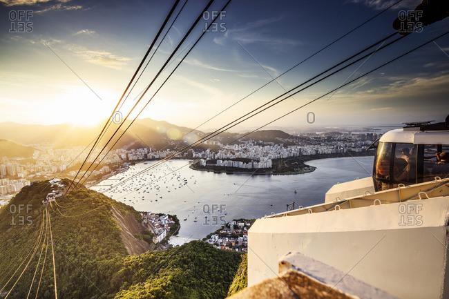 Sugarloaf Mountain, Rio de Janeiro, Rio de Janeiro, Brazil - December 22, 2016: Sugarloaf Mountain,  Teleferico,  view towards Guanabara Bay,  Praia Vermelha,  Copacabana Beach,  Botafogo,  Flamengo Beach and Corcovado