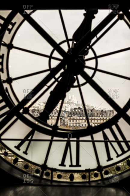 Musee d'Orsay,  Clock dial of the Museum and Paris with Basilique du Sacre Coeur out of the window