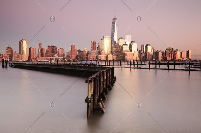 Manhattan view of the New York Skyline and the One World Trade Center from New Jersey at sunset