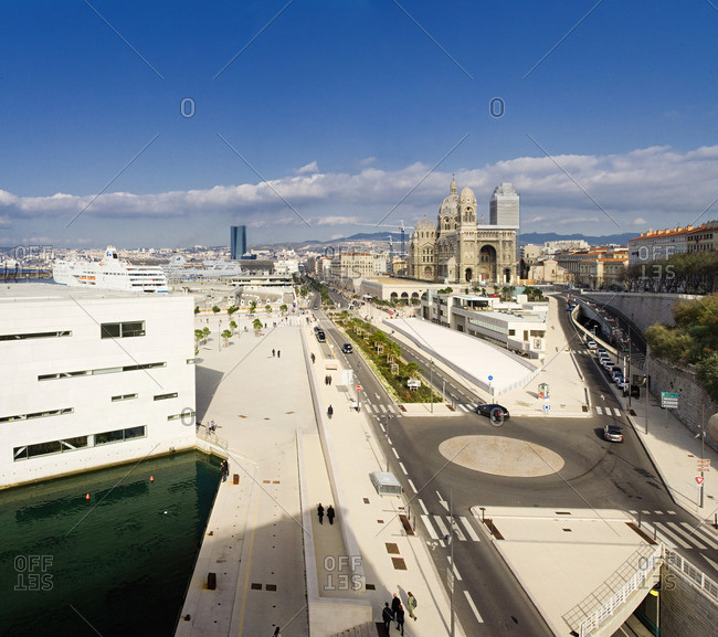 Marseille, Provence-Alpes-Cote d'Azur, France - December 22, 2016: Boulevard Euromediterranee