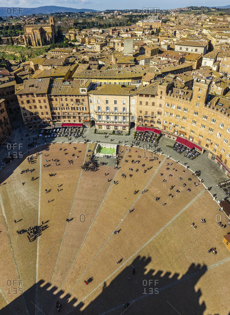 Siena, Siena district, Tuscany, Italy - December 22, 2016: Piazza del Campo from above view