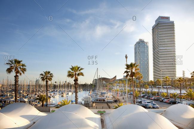 Port Olympic, Barcelona, Catalonia, Spain - December 23, 2016: Port Olympic Harbor