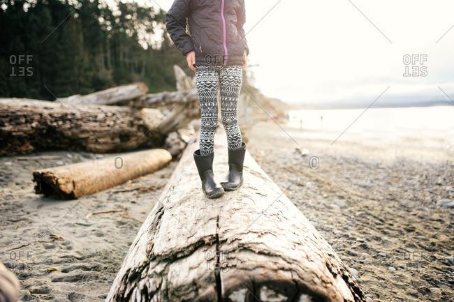 Girl on log on winter beach