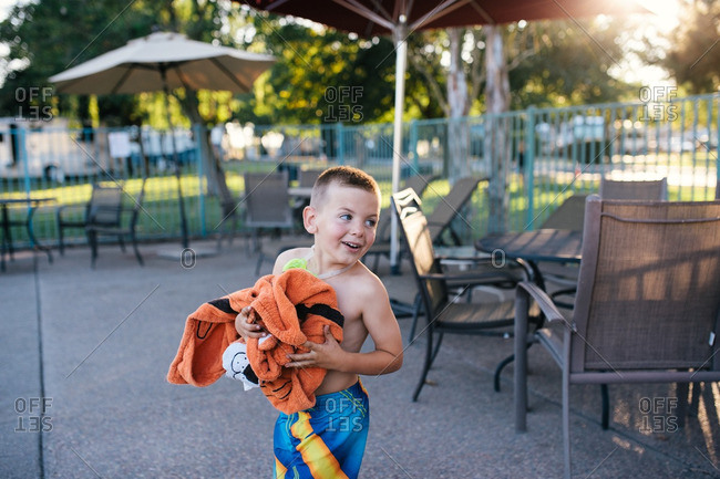 Boy at a campground pool