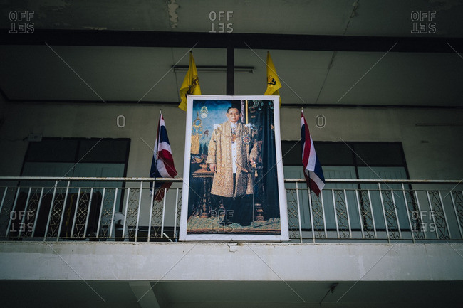 8/9/16: A photograph of the king hanging outside at Tham Krabok temple in Saraburi, Thailand.