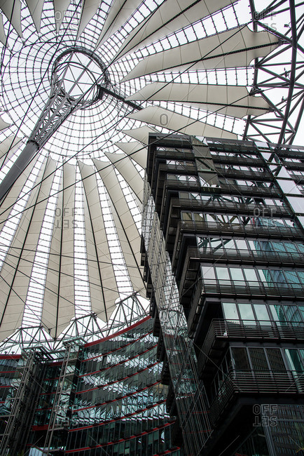 Berlin, Germany - June 18, 2015: Sony Center canopy in Berlin, Germany