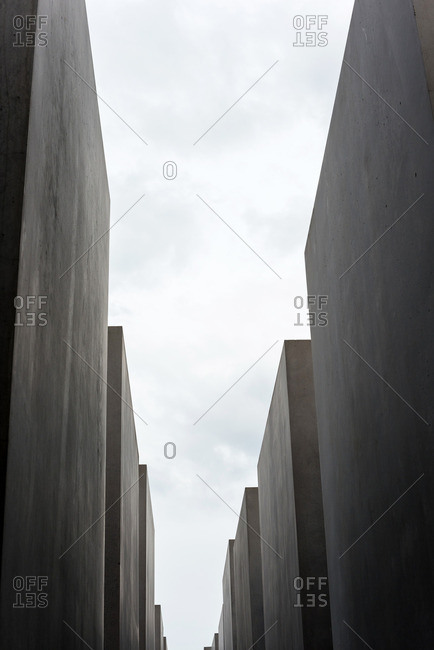Berlin, Germany - June 18, 2015: Slabs of the Holocaust memorial