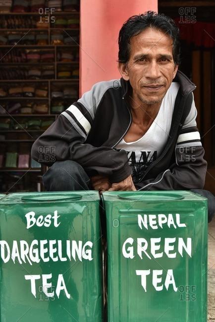 Bhaktapur, Nepal - April 13, 2016: A Nepalese man selling tea, Bhaktapur Nepal