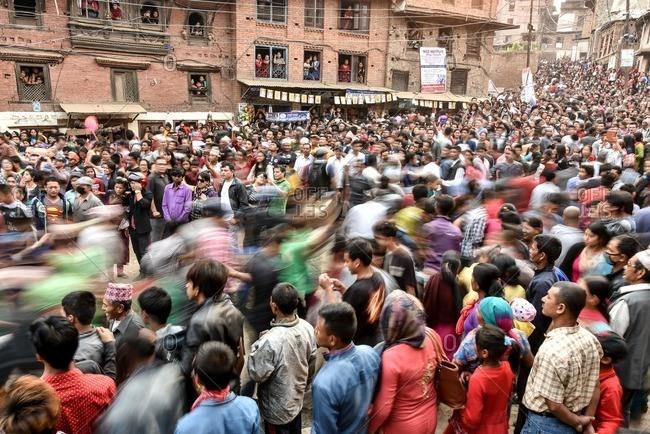 Bhaktapur, Nepal - April 13, 2016: Bisket Jatra festival in Bhaktapur, Nepal