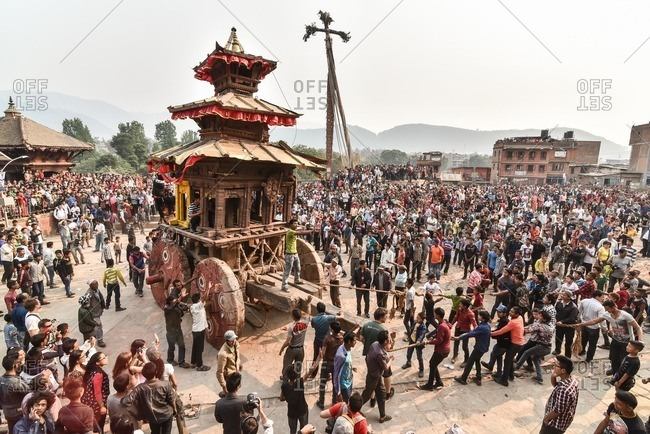 Bhaktapur, Nepal - April 13, 2016: People celebrating New Year (Bisket Jatra) festival in Bhaktapur, Nepal