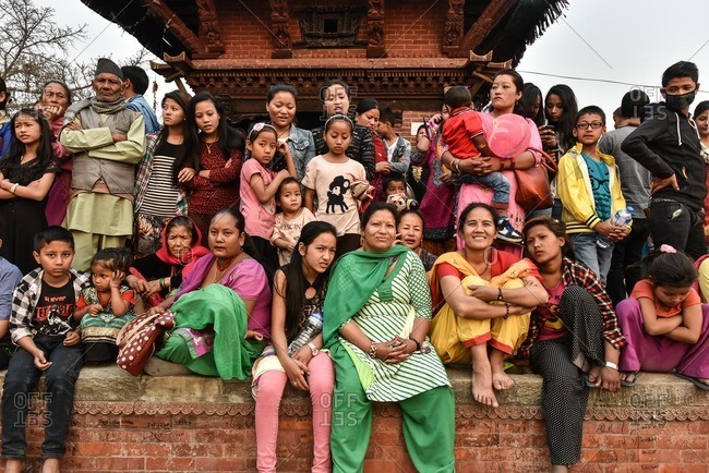 Bhaktapur, Nepal - April 12, 2016: Nepali people celebrating Bisket Jatra, the New Year in Nepal