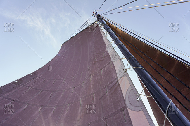 Low angle view of sail of a traditional German fishing boat