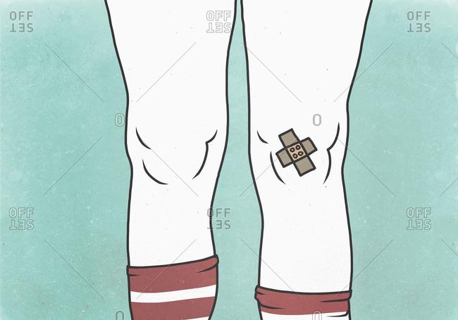 Illustration of bandage on knee against green background representing injury