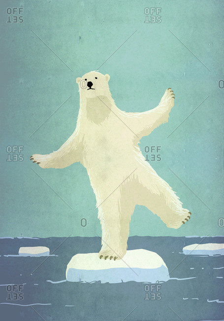 Illustrative image of polar bear balancing on iceberg in sea representing global warming