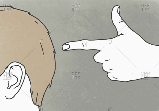Illustrative image of hand gesturing shooting head against gray background