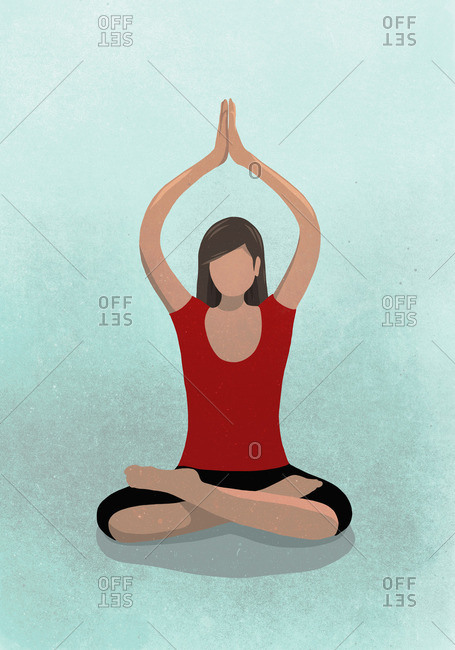 Vector image of woman practicing yoga against blue background depicting healthy lifestyle