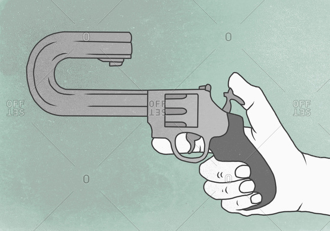 Illustration of hand holding gun with curved barrel representing suicide