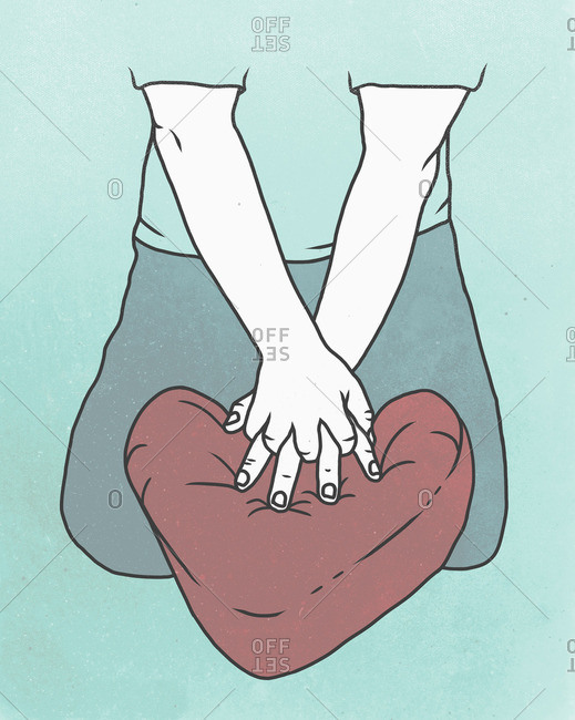 Illustration of man performing CPR on heart shaped cushion